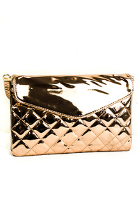 Solid Shinny Metallic Quilted Clutch With Strap