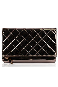 Solid Metallic Quilted Flap Over Zipper Closure Clutch