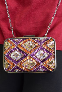 Premium Hard Case Multicolor Sequins Deco with Chain Strap Clutch Bag