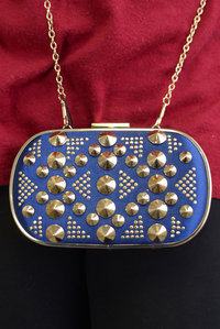 Premium Hard Case Spike and Rhinestones Deco with Chain Strap Clutch Bag