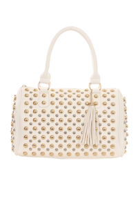 All Over Studs With Tassel Accented Top Handle Satchel Bag