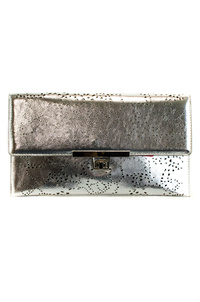 Metallic Laser Cut Flap Over Turn Lock Clutch With Strap