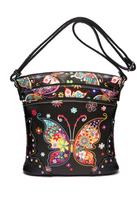 Western Cowgirl Colorful Butterfly Wing And Printed Back Messenger