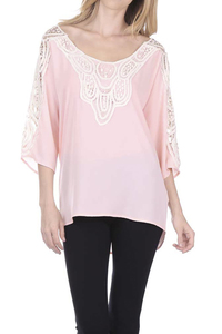 Solid FCrochet Lace 3/4 Sleeve Top