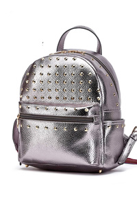Solid Shinny Metallic Fabric With Studs Backpack