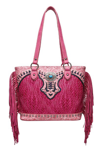 Western Cowgirl embellished And Fringes Tote Double Handle Bag