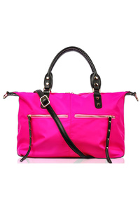 Solid Two Front Zipper Double Handle Tote Bag With Strap