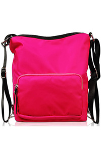 Solid Nylon Front Zipper Pocket Messenger Bag