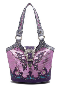 Western Cowgirl Belt Clip Sequins Bucket Style Bag