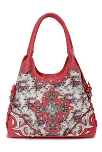 Western Cowgirl Floral Print Cross Side Belt Design Shoulder Hobo Bag