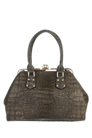 Crocodile And Metal Frame Accented Top Handle Satchel Bag With Strap