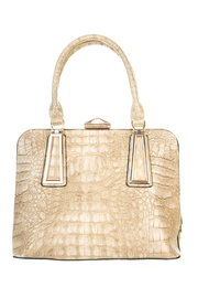 Crocodile And Metal Frame Accented Top Handle Tote Bag With Strap