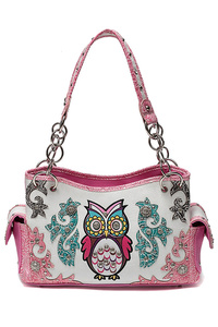 Western Cowgirl Owl With Studs Satchel Bag