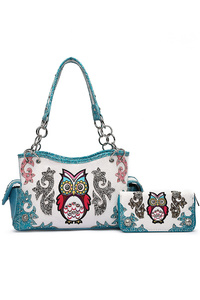 Western Cowgirl Owl With Studs Satchel And Wallet Two In One