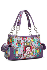 Western Cowgirl Owl Printed Satchel Bag