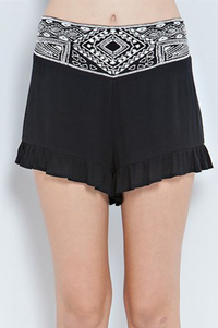 solid crinkle solid rayon ruffle shorts featuring ethnic pattern embroidery on w