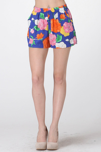 FLOWER PRINTED SHORTS WITH POCKET