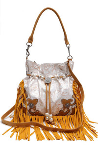 Fringe And Engrave Accented Bucket Handbag With Handle And Strap