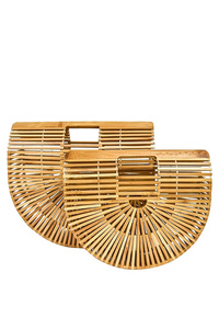 Two Pcs Set Solid Bamboo Oval Shape Handbag
