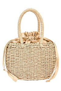 Straw Drawstring with Double Handle Satchel Bag