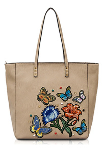 Solid Butterfly, Flower Embossed With Color Stones Tote Bag
