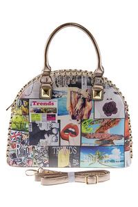 Studs And Stone Accented  Magazine Design Satchel Bag With Strap