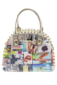 Cute Studs And Stone Accented  Magazine Design Satchel Bag