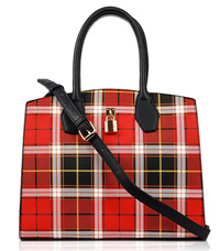 Checker Design Structure Satchel Bag With Strap