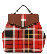 Checker Design Structure Flap Over Backpack