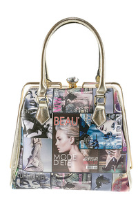 Taller Metal Frame Center Ring Magazine Design Satchel Bag With Strap