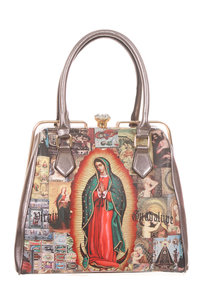 Virgin Mary Inspired Metal Ring Edge Satchel Top Handle Bag