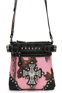 Pink Camouflage Print Cross Accented Messenger Bag