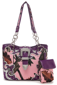 Pink Camouflage Print Center Belt Accented Double Handle Tote Bag