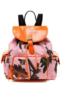 Pink Camouflage Front Zipper Pocket And Side Pocket Backpack