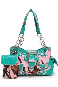 Pink Camouflage Belt Accented Double Side Pocket Satchel With Phone Holder