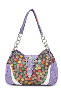 Western Style Multicolor Polka Dot Print Belt Buckle Deco Hobo Bag