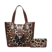 Western Cowgirl Belt Clip Leopard Tote And Wallet Two in One