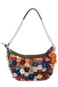 Genuine Leather Multi Flower Deco Double Strap Messenger Bag