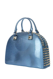 Rhinestone And Shinny Patent Leather Top Handle Satchel Bag With Strap