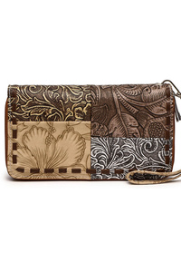 Patched embellishment Zip Around Wallet With Wrist Strap