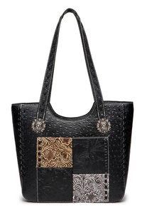 Patched embellishment Tote Long Shoulder Bag