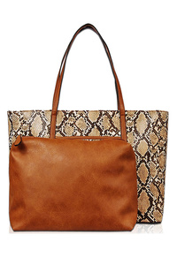 Snake Skin And Pouch Two In One Tote Bag