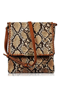 Snake Skin Flap Over Messenger Bag