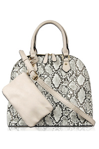Snake Skin Satchel Double Handle Bag With Strap