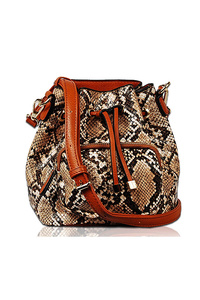 Snake Skin Print Drawstring Bucket Style Bag With Strap