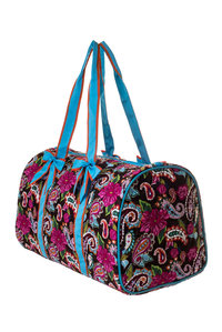 Paisley and Tropical Flower Print Quilted Canvas Over Size Duffle Gym Bag