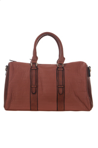 Solid Stipe Narrow Quilt Accented Satchel Bag With Strap