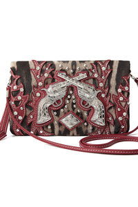 Western Cowgirl Leopard Print And Gun Accented Clutch Wallet
