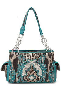 Western Cowgirl Leopard Print And Gun Accented Two Side Pocket Satchel Bag