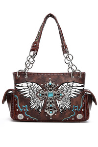 Restocked Western Cowgirl Cross And Angel Wing Satchel Double Side Pocket Bag